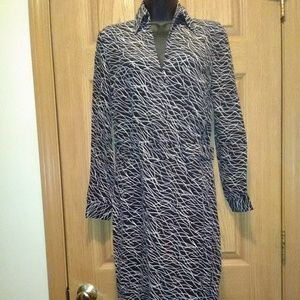 Moda International L/S Faux Wrap Dress Sz 2 EUC!